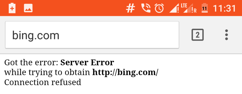 Got the error Server Error while trying to obtain a website Connection refused