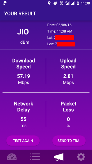 Jio Speed test as per TRAI Speed Test App