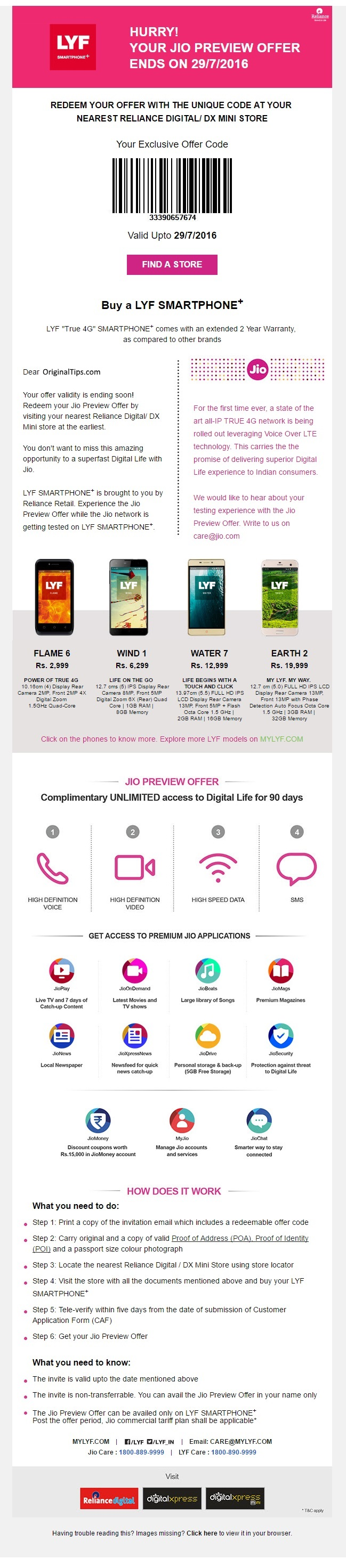 Reliance Jio LYF Mobile Phone Preview Offer